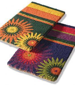 Doormat~ Bohemian Hippy Coconut Fibre Orange or Purple Floral Stripes Doormat~ By Folio Gothic Hippy DM80/8P